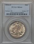 Walking Liberty Half Dollars, 1934-S 50C MS64 PCGS....