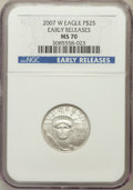 Modern Bullion Coins, 2007-W $25 Quarter-Ounce Platinum Eagle, Early Releases, Burnished, MS70 NGC. NGC Census: (574). PCGS Population: (237). 70...