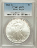 Modern Bullion Coins, 2006-W $1 Silver Eagle MS70 PCGS. PCGS Population (811). NGCCensus: (9702). Numismedia Wsl. Price for problem free NGC/PC...