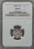 Seated Dimes, 1889-S 10C MS64 NGC. Fortin-104....