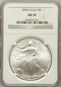 Modern Bullion Coins, 2006 $1 Silver Eagle MS70 NGC. NGC Census: (3848). PCGS Population(375). Numismedia Wsl. Price for problem free NGC/PCGS ...