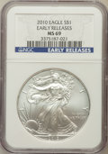 Modern Bullion Coins, 2010 $1 Silver Eagle, Early Releases MS69 NGC. NGC Census:(669826/44256). PCGS Population (15154/25693)....