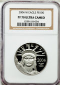 Modern Bullion Coins, 2004-W P$100 One-Ounce Platinum Eagle PR70 Ultra Cameo NGC. NGCCensus: (970). PCGS Population (98). Numismedia Wsl. Price...