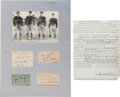 Football Collectibles:Others, Circa 1940's Four Horsemen of Notre Dame and Grantland Rice Signed Lot of 5....