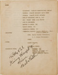 Baseball Collectibles:Others, 1944 Babe Ruth Used and Signed NBC Radio Script....