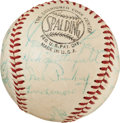 Baseball Collectibles:Balls, 1955 Pittsburgh Pirates Team Signed Baseball With Rookie RobertoClemente Autograph. ...