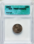 Proof Seated Dimes, 1862 10C -- Cleaned -- ICG. PR60 Details. NGC Census: (0/96). PCGSPopulation (5/129). Mintage: 550. Numismedia Wsl. Pr...