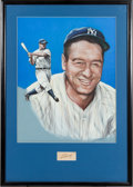 Autographs:Others, Late 1930's Lou Gehrig Signed Cut Signature Display. ...