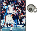 Football Collectibles:Photos, Fred Biletnikoff Signed Mini Helmet and Dick Butkus Signed Oversized Photograph....