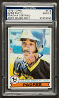 Autographs:Sports Cards, Signed 1979 Topps Ozzie Smith #116 Rookie PSA/DNA Mint 9. ...