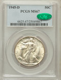 Walking Liberty Half Dollars, 1945-D 50C MS67 PCGS. CAC....