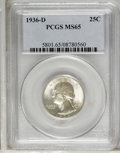 Washington Quarters: , 1936-D 25C MS65 PCGS. PCGS Population (254/118). NGC Census:(126/62). Mintage: 5,374,000. Numismedia Wsl. Price: $1,475. (...