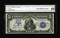 Large Size:Silver Certificates, Fr. 279 $5 1899 Silver Certificate CGA Gem Uncirculated 65....