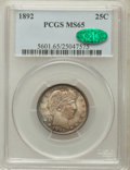 Barber Quarters, 1892 25C MS65 PCGS. CAC....