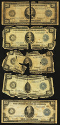 Large Size:Group Lots, Five 1914 Federal Reserve Notes. Fair or Better.. ... (Total: 5 notes)