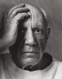 ARNOLD NEWMAN (American, 1918-2006) Pablo Picasso, 1954 Gelatin silver, printed later 18-3/4 x 14