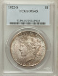 Peace Dollars, 1922-S $1 MS65 PCGS....