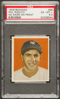 Baseball Cards:Singles (1940-1949), 1949 Bowman Phil Rizzuto, No Name On Front #98 PSA EX-MT+ 6.5....