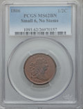 Half Cents, 1806 1/2 C Small 6, No Stems MS62 Brown PCGS. C-1, B-3, R.1....