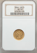 Liberty Quarter Eagles, 1844 $2 1/2 AU50 NGC....