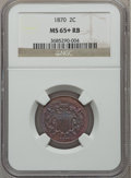 Two Cent Pieces, 1870 2C MS65+ Red and Brown NGC....