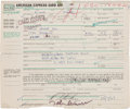 Music Memorabilia:Autographs and Signed Items, Beatles John Lennon and Ringo Starr Signed American Express CardApplication Form, 1969....