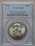 Franklin Half Dollars: , 1958 50C MS66 PCGS. Ex: Teich Family Collection. PCGS Population(1496/34). NGC Census: (918/29). Mintage: 4,000,000. Numis...