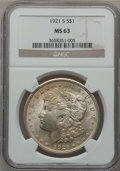 Morgan Dollars: , 1921-S $1 MS63 NGC. NGC Census: (3552/5716). PCGS Population(3494/4175). Mintage: 21,695,000. Numismedia Wsl. Price for pr...