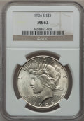 Peace Dollars: , 1926-S $1 MS62 NGC. NGC Census: (685/3651). PCGS Population(965/4906). Mintage: 6,980,000. Numismedia Wsl. Price for probl...