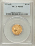 Indian Quarter Eagles: , 1914-D $2 1/2 MS61 PCGS. PCGS Population (576/3437). NGC Census:(2060/6167). Mintage: 448,000. Numismedia Wsl. Price for p...
