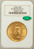 Saint-Gaudens Double Eagles: , 1908 $20 No Motto MS64 NGC. CAC. NGC Census: (32717/13544). PCGSPopulation (33422/20014). Mintage: 4,271,551. Numismedia W...
