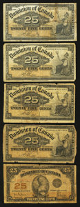 Canadian Currency: , DC-15b 25¢ 1900 Four Examples;. DC-24a 25¢ 1923.. ... (Total: 5notes)