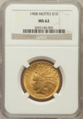 Indian Eagles: , 1908 $10 Motto MS62 NGC. NGC Census: (1368/751). PCGS Population(1351/1032). Mintage: 341,300. Numismedia Wsl. Price for p...