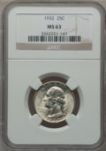Washington Quarters: , 1932 25C MS63 NGC. NGC Census: (317/998). PCGS Population(502/1700). Mintage: 5,404,000. Numismedia Wsl. Price forproblem...