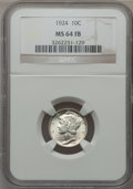 Mercury Dimes: , 1924 10C MS64 Full Bands NGC. NGC Census: (97/176). PCGS Population(189/237). Mintage: 24,010,000. Numismedia Wsl. Price f...