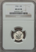 Mercury Dimes: , 1924 10C MS65 Full Bands NGC. NGC Census: (101/75). PCGS Population(145/92). Mintage: 24,010,000. Numismedia Wsl. Price fo...