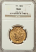 Indian Eagles: , 1909-D $10 MS61 NGC. NGC Census: (213/328). PCGS Population(199/468). Mintage: 121,540. Numismedia Wsl. Price for problem ...