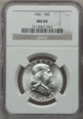 Franklin Half Dollars, (2)1961 50C MS64 NGC. NGC Census: (1490/1532). PCGS Population(2981/774). Mintage: 8,200,000. Numismedia Wsl. Price for pr...(Total: 2 coins)