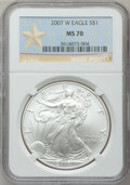 Modern Bullion Coins, 2007-W $1 Silver Eagle West Point MS70 NGC. NGC Census: (11164).PCGS Population (2545). Numismedia Wsl. Price for problem...