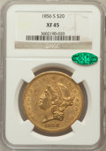 Liberty Double Eagles: , 1856-S $20 XF45 NGC. CAC. NGC Census: (197/637). PCGS Population(137/263). Mintage: 1,189,750. Numismedia Wsl. Price for p...