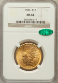 Indian Eagles: , 1926 $10 MS64 NGC. CAC. NGC Census: (4092/734). PCGS Population(3154/368). Mintage: 1,014,000. Numismedia Wsl. Price for p...