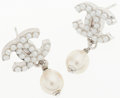Luxury Accessories:Accessories, Chanel Silver CC Logo Beaded Drop Faux Pearl Earrings. ...