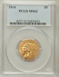 Indian Half Eagles: , 1914 $5 MS62 PCGS. PCGS Population (644/740). NGC Census:(781/523). Mintage: 247,000. Numismedia Wsl. Price for problemfr...