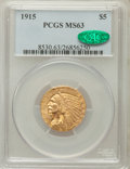 Indian Half Eagles: , 1915 $5 MS63 PCGS. CAC. PCGS Population (814/509). NGC Census:(618/565). Mintage: 588,075. Numismedia Wsl. Price for probl...