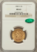 Liberty Half Eagles: , 1880-S $5 MS63 NGC. CAC. NGC Census: (291/137). PCGS Population(259/84). Mintage: 1,348,900. Numismedia Wsl. Price for pro...