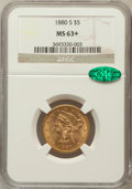 Liberty Half Eagles, 1880-S $5 MS63+ NGC. CAC. NGC Census: (291/137). PCGS Population(259/85). Mintage: 1,348,900. Numismedia Wsl. Price for pr...
