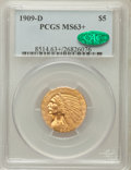 Indian Half Eagles, 1909-D $5 MS63+ PCGS. CAC. PCGS Population (9579/2718). NGC Census:(7921/2547). Mintage: 3,423,560. Numismedia Wsl. Price ...