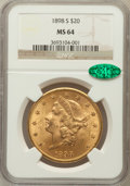 Liberty Double Eagles: , 1898-S $20 MS64 NGC. CAC. NGC Census: (1029/103). PCGS Population(1242/97). Mintage: 2,575,175. Numismedia Wsl. Price for ...
