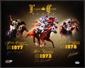 Miscellaneous Collectibles:General, Triple Crown Glory Multi Signed Horse Racing Oversized Print....