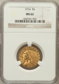 Indian Half Eagles: , 1914 $5 MS62 NGC. NGC Census: (781/523). PCGS Population (647/744).Mintage: 247,000. Numismedia Wsl. Price for problem fre...